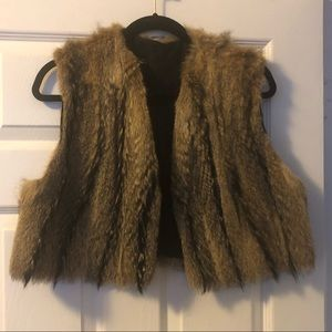 VINTAGE CREAM & BROWN PATTERNED FUR VEST JACKET